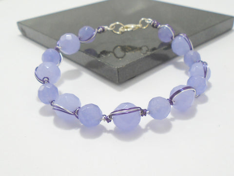 beaded alexandrite wire wrapped purple gemstone bracelet