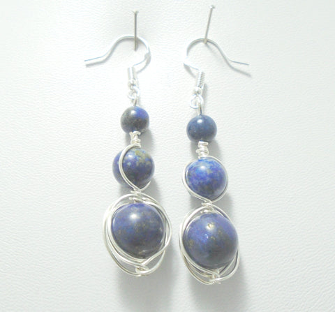 Long Beaded Lapis Lazuli Sterling Silver Earrings