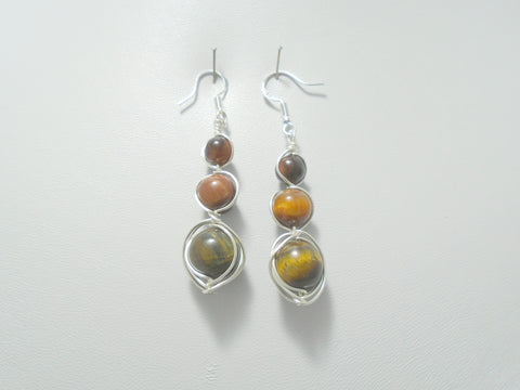 Long Tigers Eye Beaded Earrings