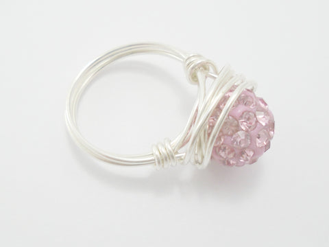pink crystal wire ring