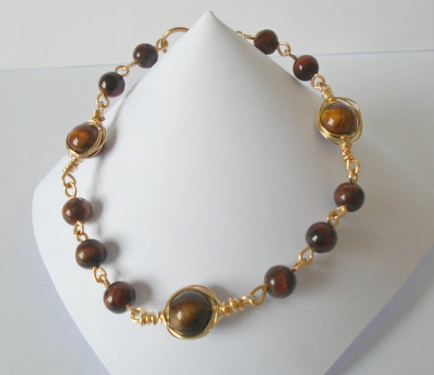 Tigers Eye Wire Bracelet