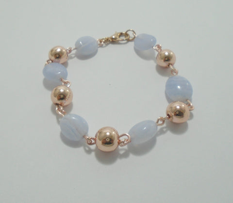 Blue Lace Agate Beaded Rose Gold Bracelet
