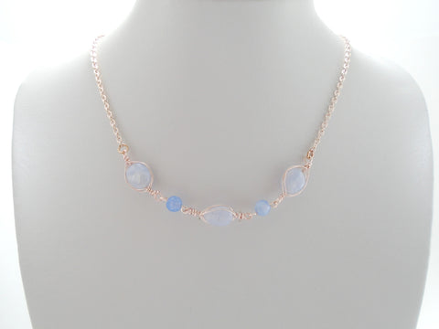 Floating Blue Lace Agate Rose Gold Necklace