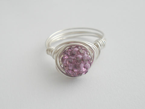Lilac Crystal Bling Ring