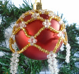 Red and Gold Beaded Bauble