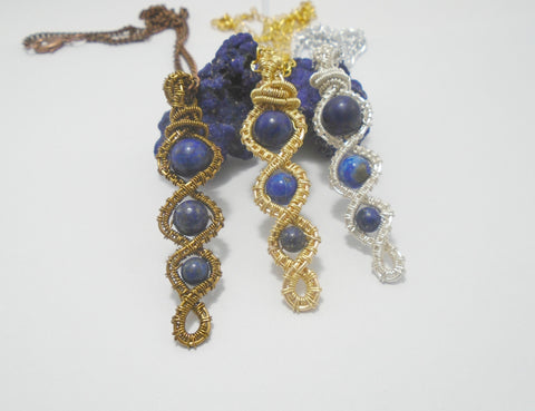 Lapis Lazuli Wire Wrapped Pendant Necklace