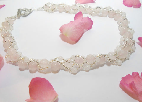 Rose Quartz Pink Gemstone Beaded Necklace Gift