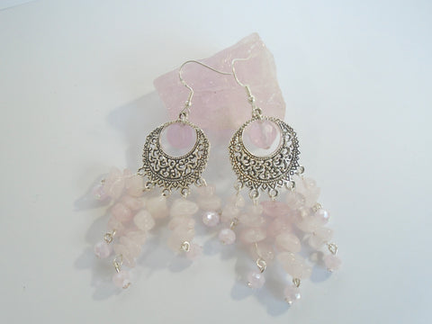 Rose Quartz Chandelier Earrings, Large Rose Quartz Earrings