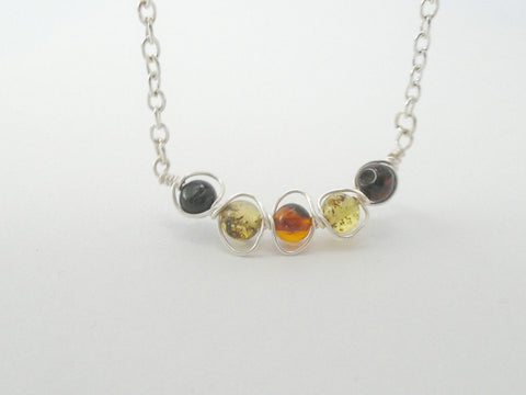 Baltic Amber Dainty Bar Necklace