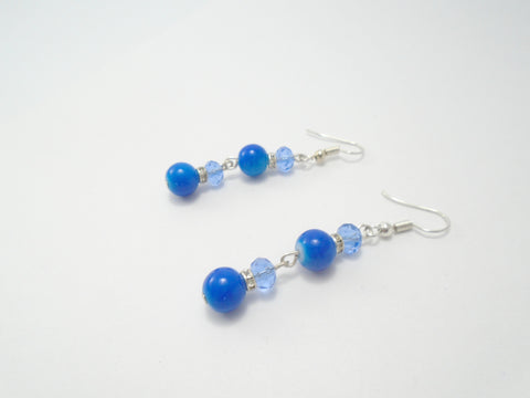 Long Blue Beaded Dangly Sparkly Earrings