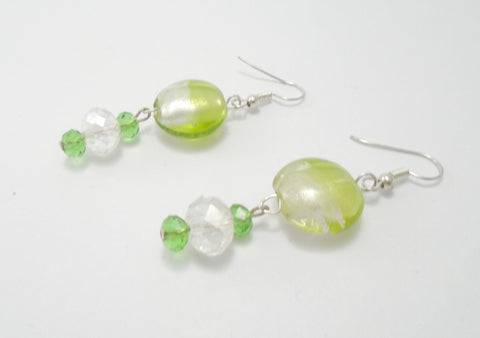 Green Glass Beaded Long Earrings