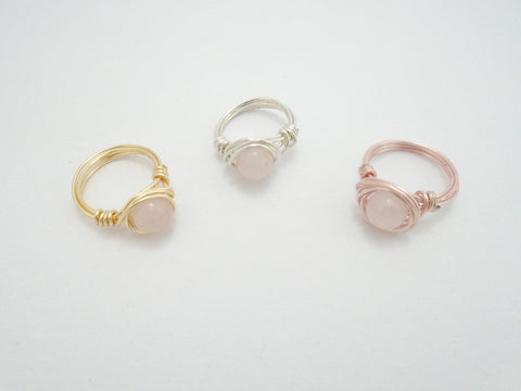rose quartz bead wire wrapped ring