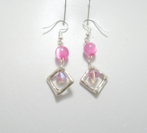 Pink sparkly Dangle drop Earrings