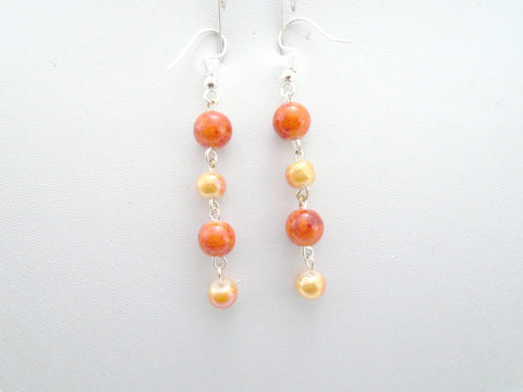 Long Beaded Orange Earrings