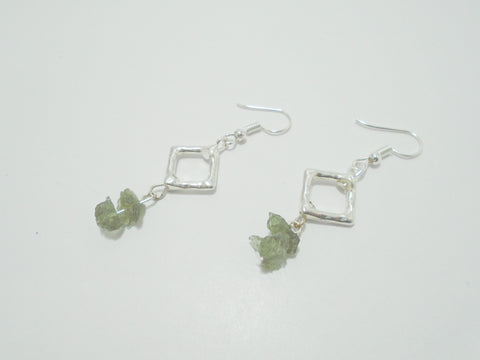 moldavite dangly earrings