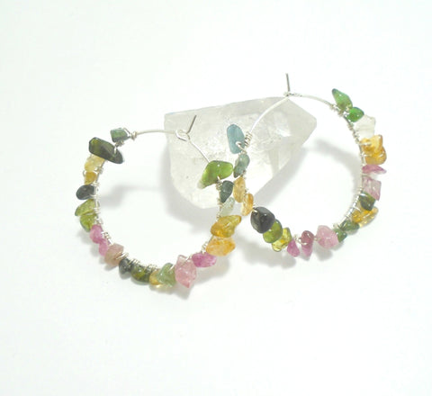 Raw Tourmaline Gemstone beaded Hoop Earrings