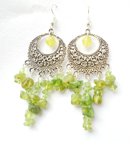 Large Natural Peridot Boho Chandelier Earrings