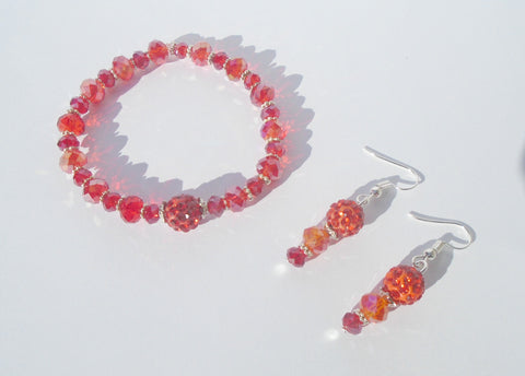 Red Crystal Beaded Stretchy Everyday Bracelet and Earring Set