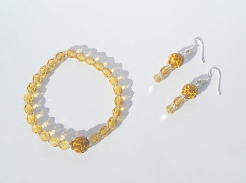 Amber Crystal Beaded Everyday Stretchy Bracelet and Earring Set