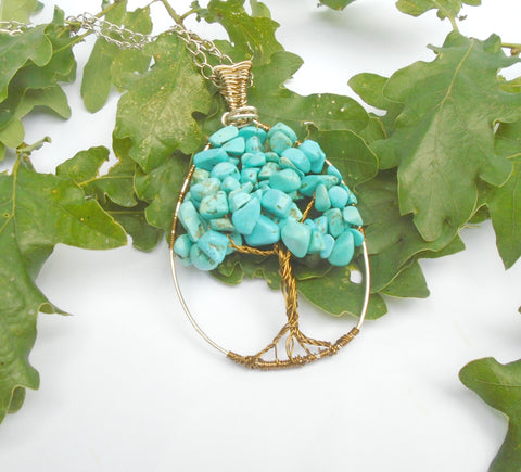 Turquoise Beaded  Gemstone wire wrapped tree of life pendant necklace