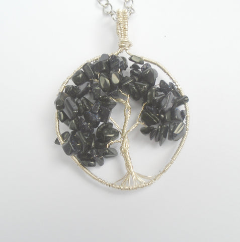 Blue Sandstone goldstone gemstone tree of life wire wrapped pendant necklace