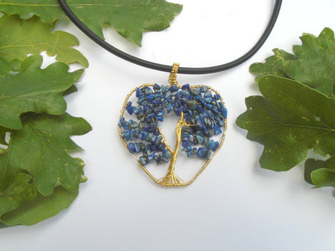 Lapis Lazuli Blue Gemstone Wire Wrapped Tree of Life Gold Pendant Necklace