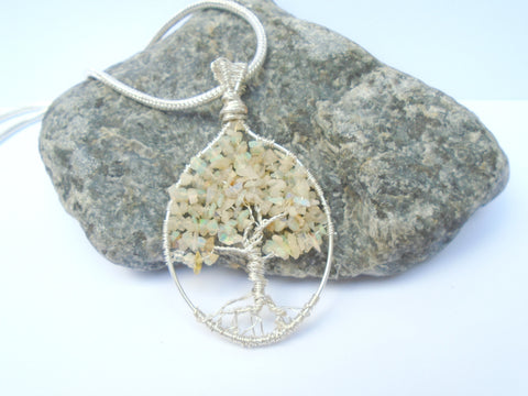 Opal Tree of Life Pendant, Opal Pendant, Gemstone Tree Pendant Necklace, Opal Wire Wrapped Tree Jewelry, October Birthstone Pendant, Gift
