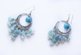 Large Aquamarine statement Earrings
