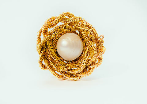 Pearl Flower Statement Gold Wire Ring