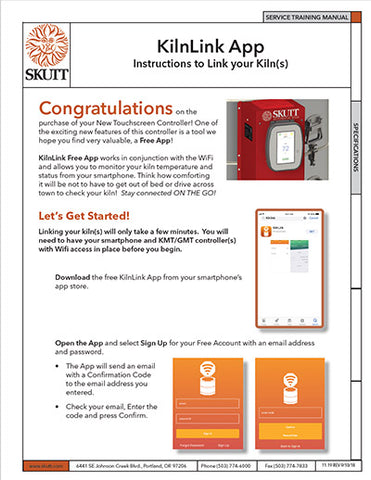 Skutt KMT Touchscreen App instructions