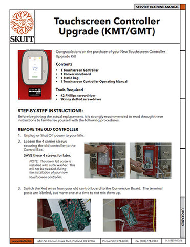 Skutt KMT Touchscreen Retrofit Kit Instruction Manual