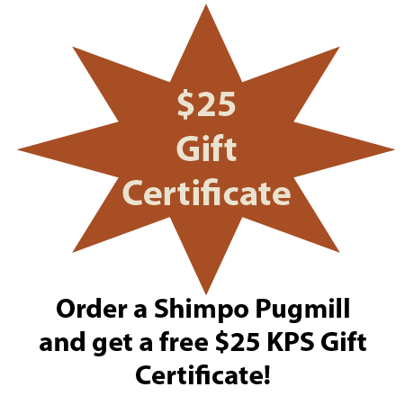 Free $25 Gift Certificate with a Shimpo NVA04S Pugmill/Mixer