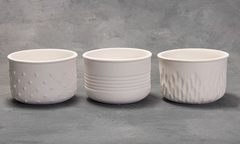 Mayco Earthenware Bisque - MB15557 Textured Planters - 3 Designs