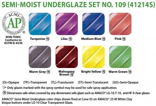 AMACO – Cone 05-6 - Set No. 109 Semi-Moist Underglazes
