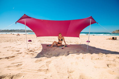 XBeach Tent With Sandbag Anchors & 2 FREE Poles UPF50+ Quality Lycra Fabric - Perfect Sun Shelter - ProsperousNomad.com