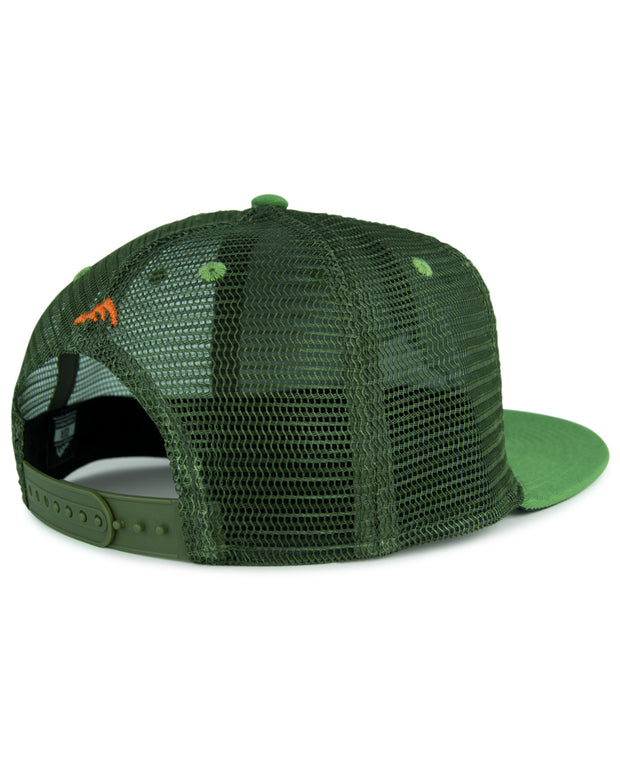Iconic patch stream green flat bill trucker hat - back