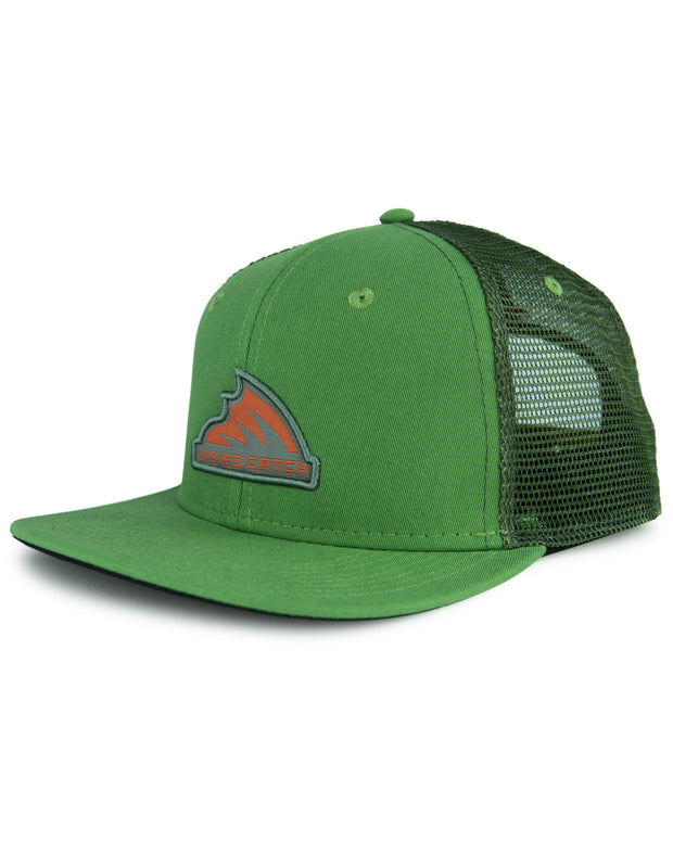 Iconic patch stream green flat bill trucker hat - front