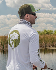 Iconic patch stream green flat bill trucker hat - outdoors