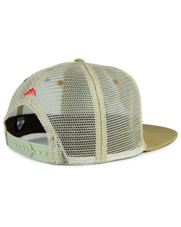 Iconic patch tan flat bill trucker hat - back