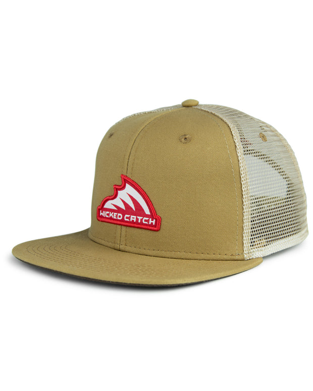Iconic patch tan flat bill trucker hat - front