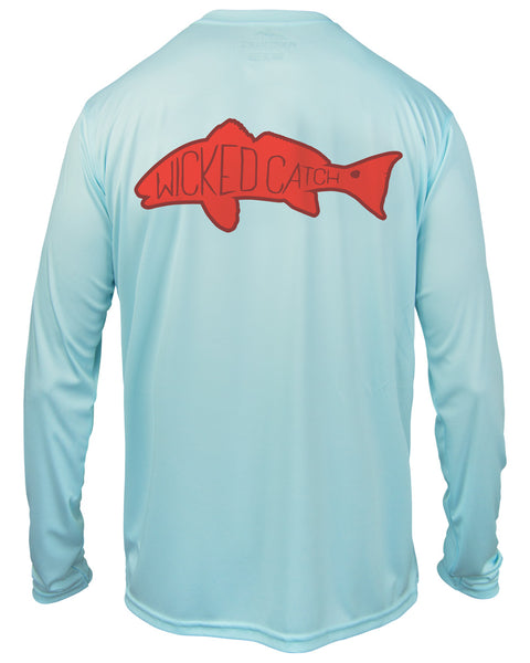 Kid's Slot Redfish - Flats blue: Wicked Catch performance fishing shirt - back