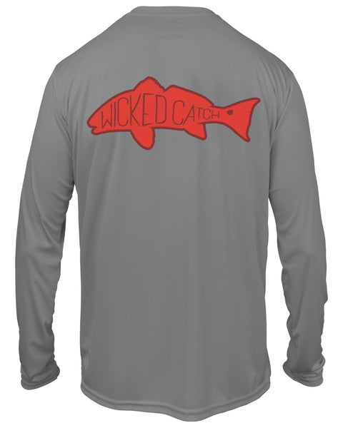 Kid's Slot Redfish - Storm gray: Wicked Catch performance fishing shirt - back