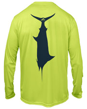 Kid's T.C. Marlin - Neon yellow: Wicked Catch performance fishing shirt - back