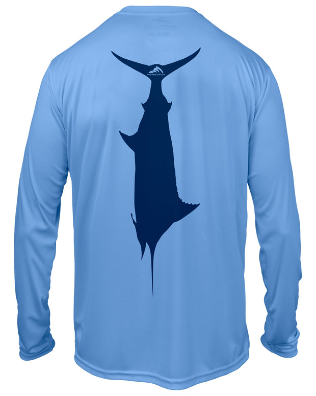 Kid's T.C. Marlin - Ocean blue: Wicked Catch performance fishing shirt - back