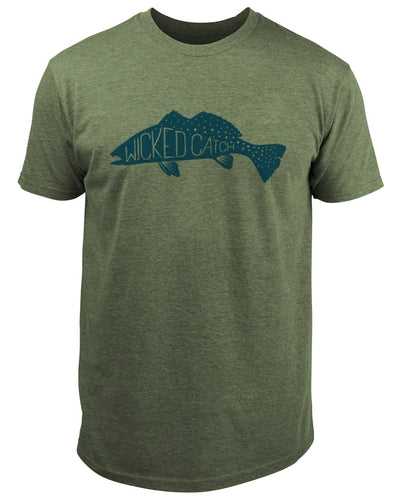 Fang Tooth Seatrout T-Shirt - Seagrass:  Wicked Catch lifestyle fishing t-shirt - front