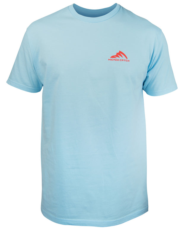 Grand Slam T-Shirt - Sky blue: Wicked Catch lifestyle fishing t-shirt - front