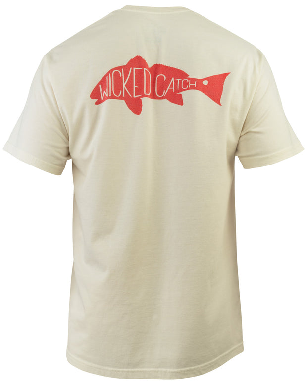 Slot Redfish T-Shirt - Bone:  Wicked Catch lifestyle fishing t-shirt - back