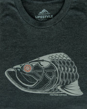 Super Fly Tarpon T-Shirt - Carbon:  Wicked Catch lifestyle fishing t-shirt - folded closeup