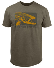 Wicked Brown Trout T-Shirt - Charcoal brown heather: Wicked Catch lifestyle fishing t-shirt - front