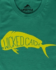 Wicked Bull Dolphin T-Shirt - Mahi green:  Wicked Catch lifestyle fishing t-shirt - folded closeup